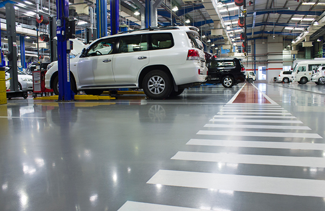 Colourful Floor Finish for Hi-Tech Automotive Service Centre in Dubai.