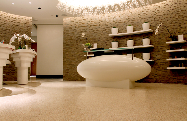 The project involved the installation of Flowcrete's Mondéco Terrazzo flooring system.